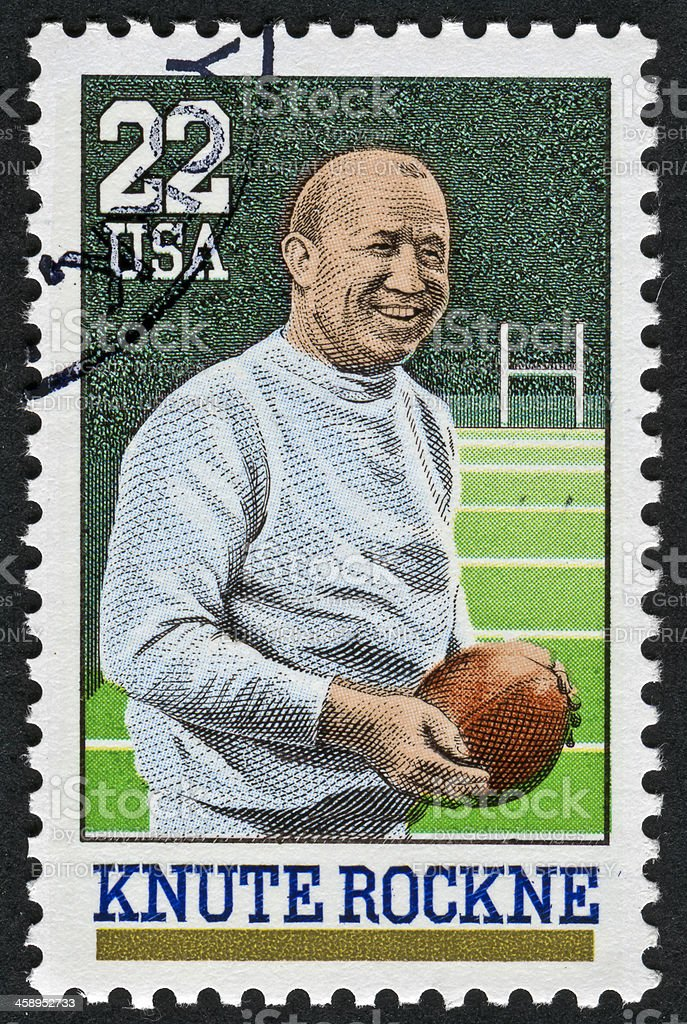 Knute Rockne Stamp stock photo