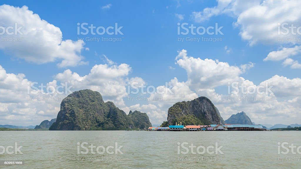 Ko Panyi or Koh Panyee, floating fishing village in Thailand stock photo