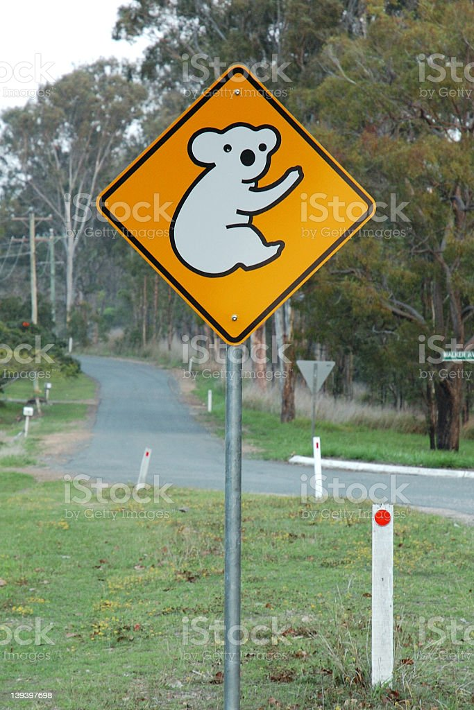 Koala ahead road sign royalty-free stock photo