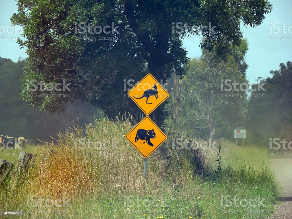 Koala and Kangaroo crossing sign stock photo