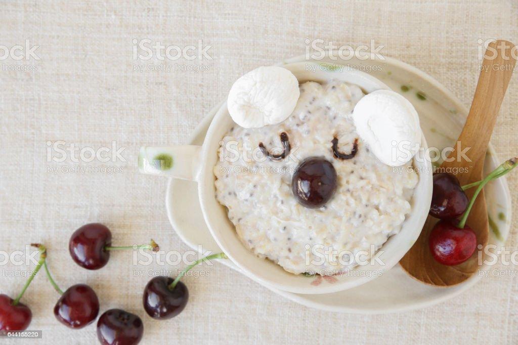 koala bear oatmeal porridge breakfast, fun food art for kids stock photo