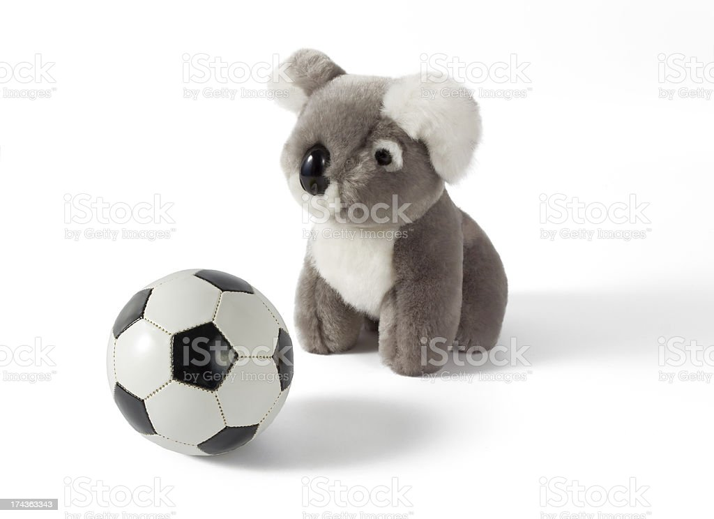 Koala Plushy With Soccer Ball royalty-free stock photo