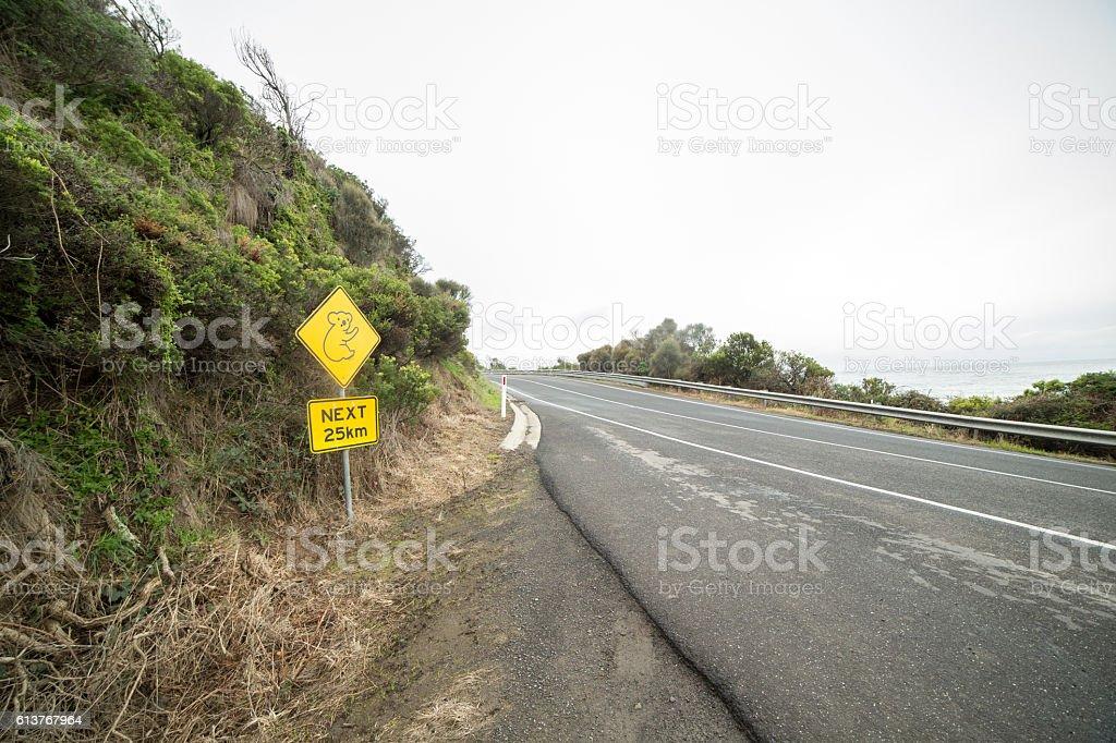 Koala warning sign on the Great Ocean Road, Australia stock photo