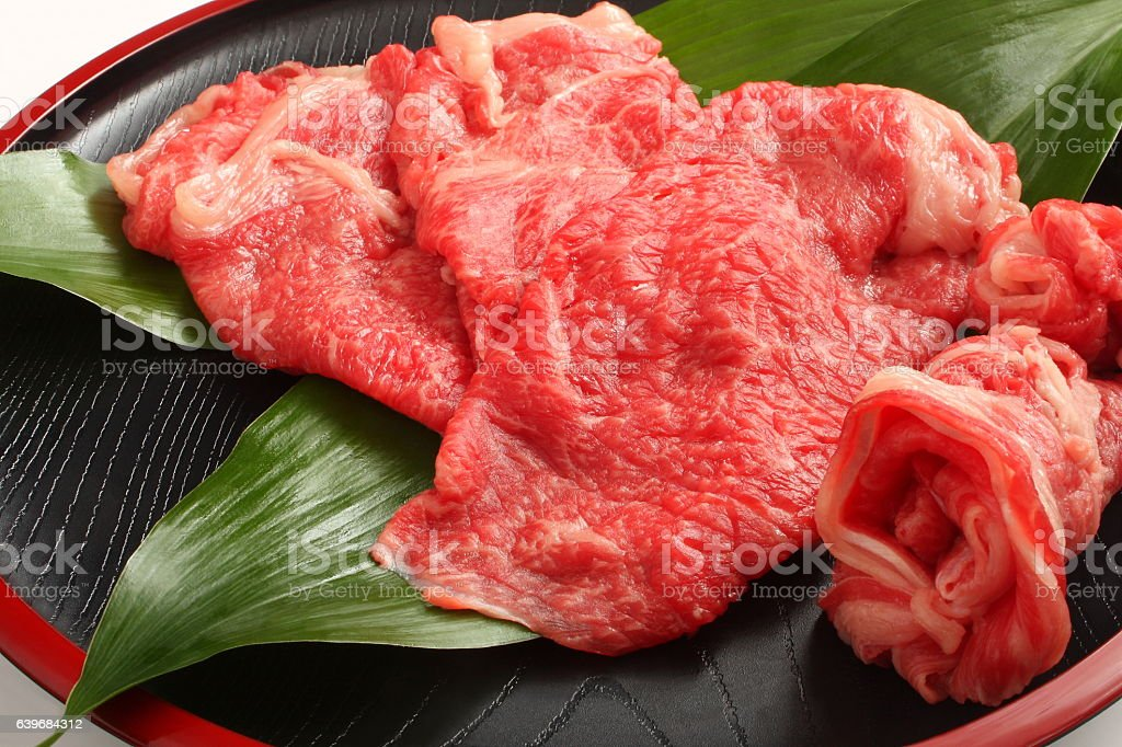 Kobe Beef for Sukiyaki, Japanese food stock photo