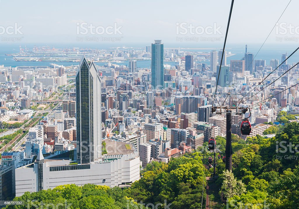 Kobe cityscape skyline with cable car view from mountain stock photo