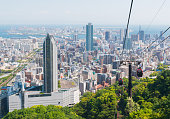 Kobe cityscape skyline with cable car view from mountain