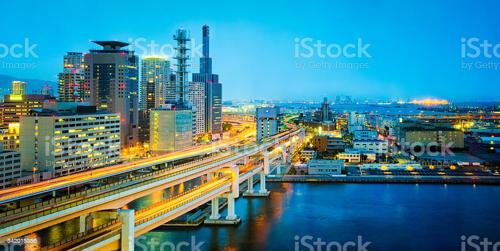 Kobe Japan skyline at dusk stock photo