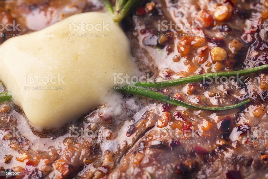 Kobe New York Steak on Grill with Fire royalty-free stock photo
