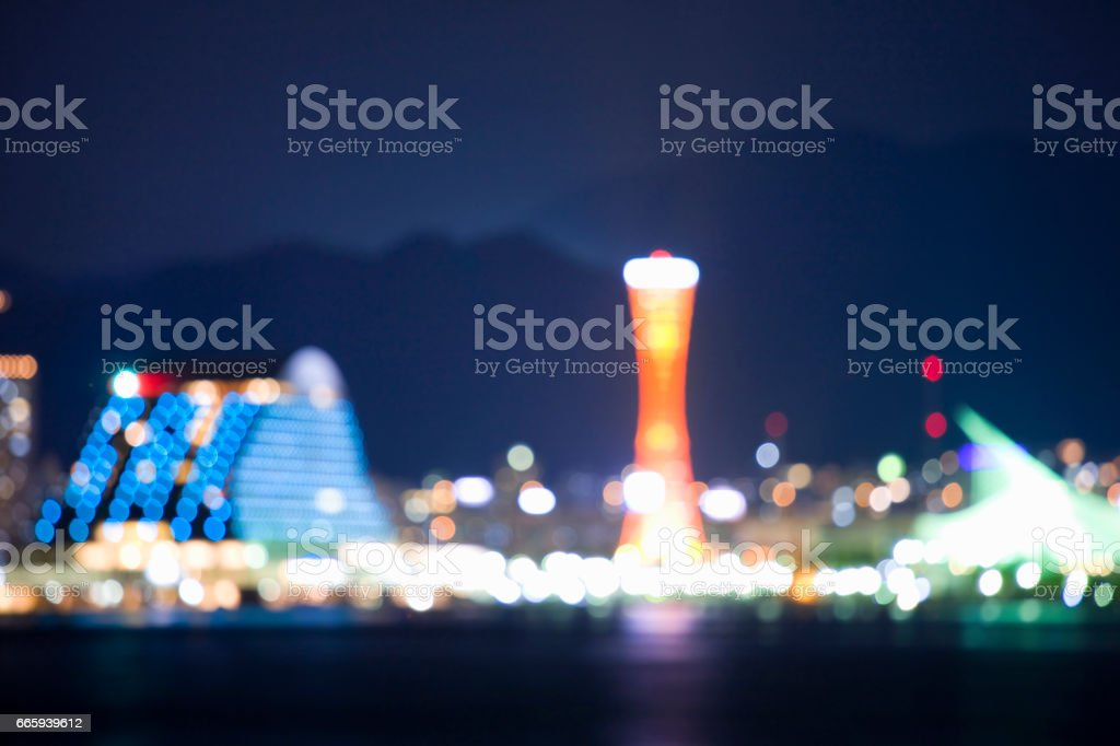 Kobe waterfront out focus stock photo