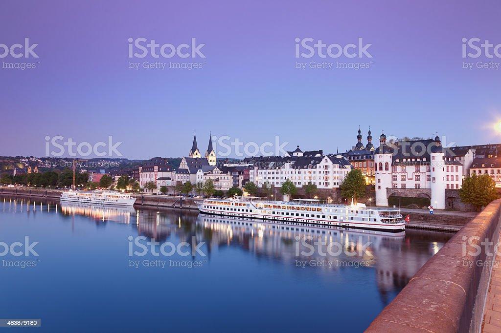 Koblenz, Balduin bridge of old town stock photo