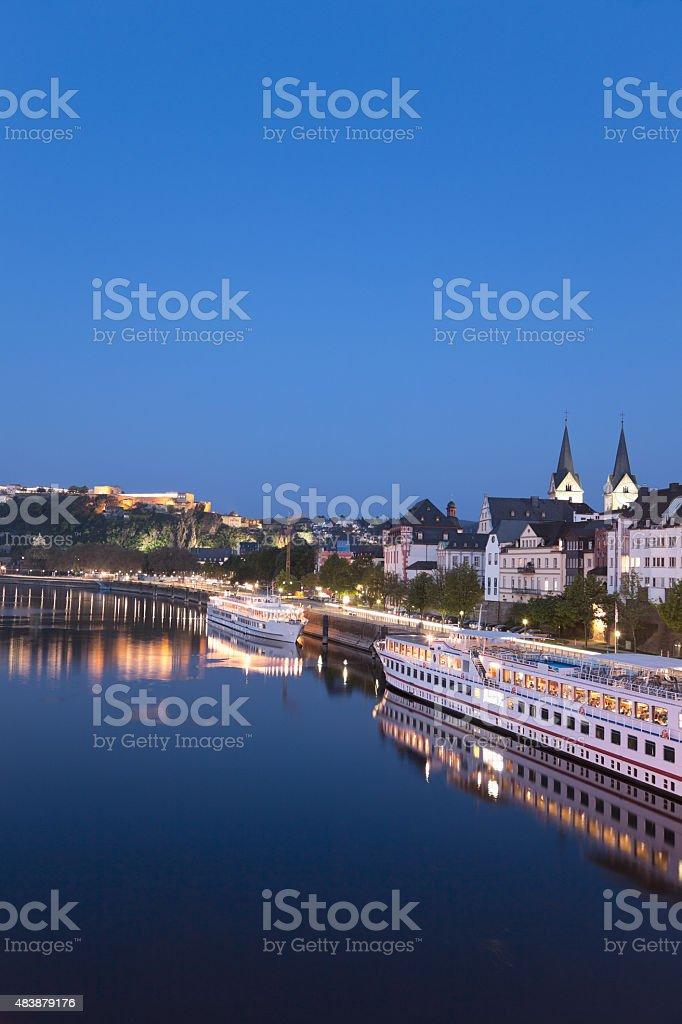 Koblenz ,Ehrenbreitstein,View of old town with German Corner,iro stock photo