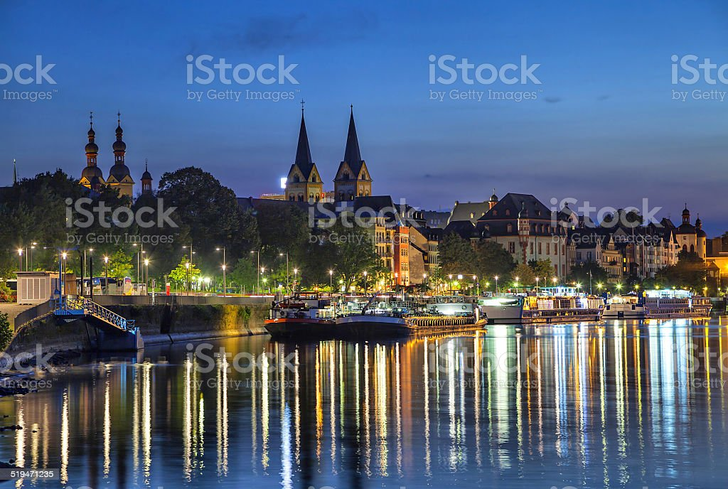 Koblenz skyline reflecting in river Moselle stock photo