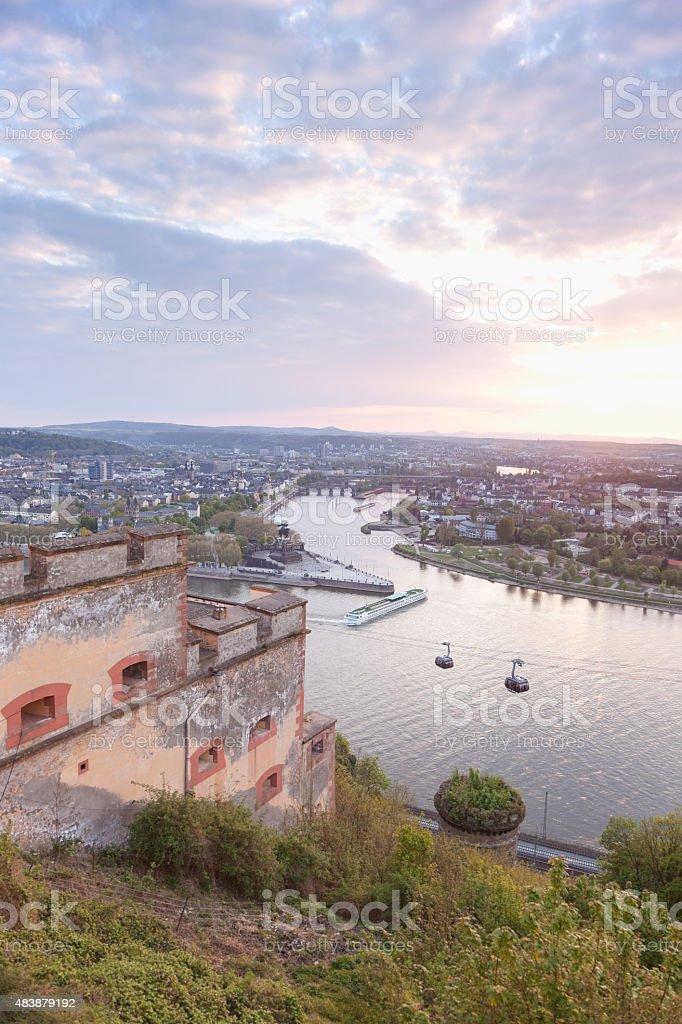 Koblenz,Ehrenbreitstein,View of Deutsches Eck with cable car cro stock photo