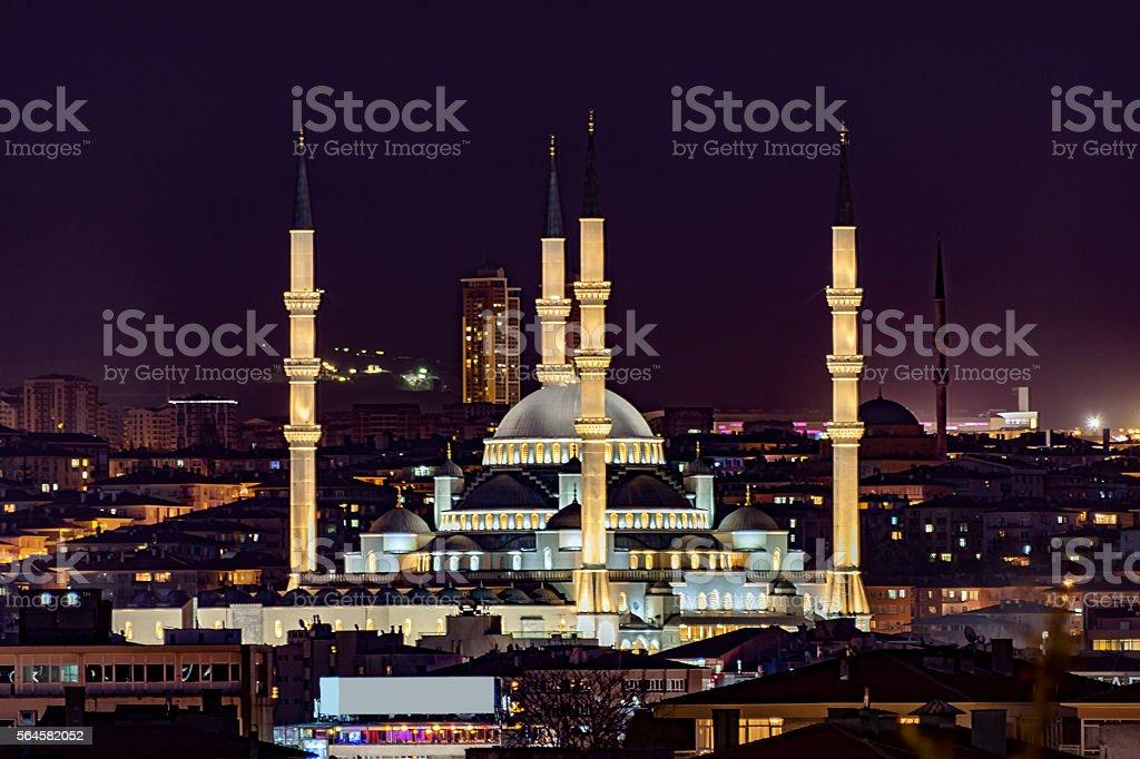 Kocatepe mosque at night stock photo