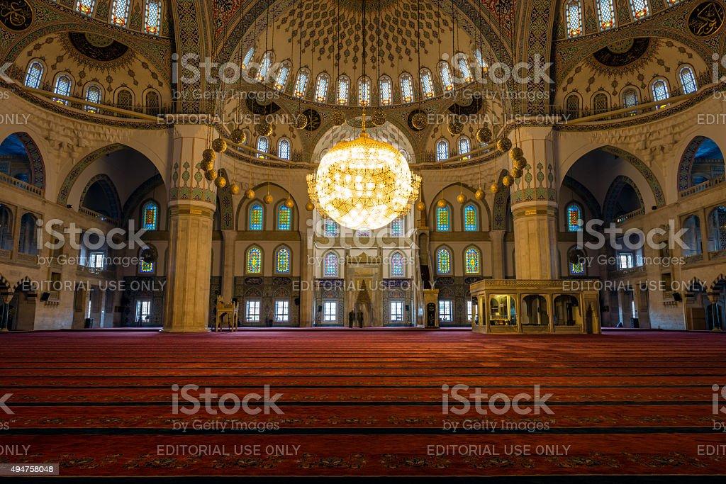 Kocatepe Mosque (Kocatepe Cami) interior stock photo
