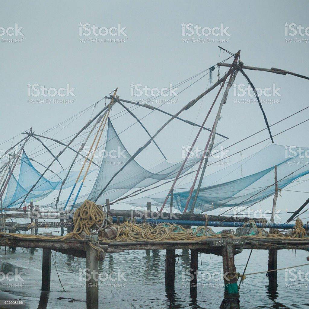 Kochi Chinese fishing nets stock photo