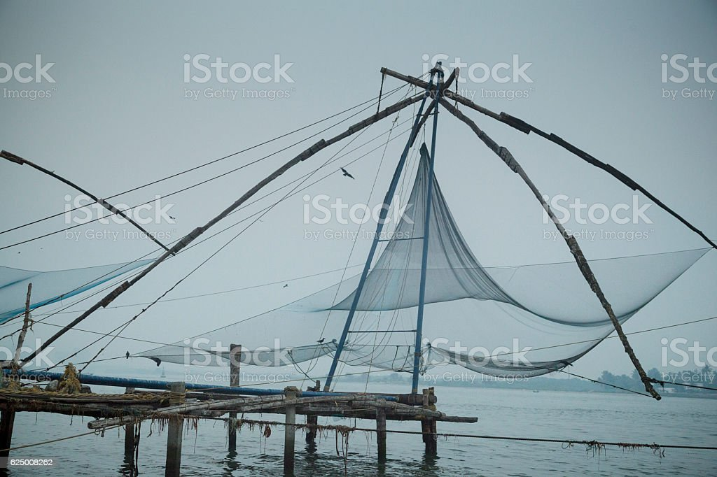 Kochi Chinese fishing nets stock photo