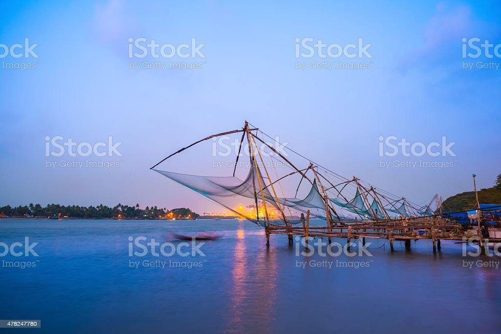 Kochi chinese fishnets in twilight , Kerala. Fort Kochin stock photo