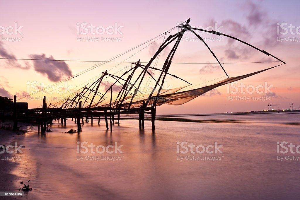 Kochi, India. Chinese fishing nets stock photo