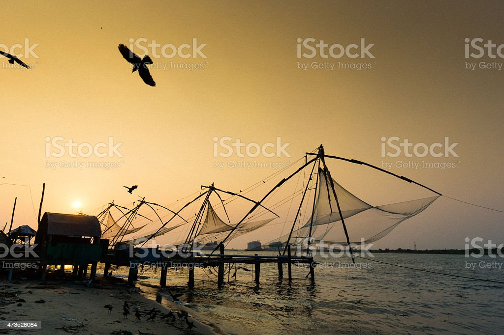 Kochi sunset in the Kerala region of India. stock photo