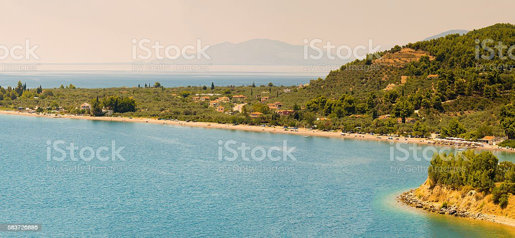 Kochili beach (Spiada) at north Evia. Panoramic view. stock photo