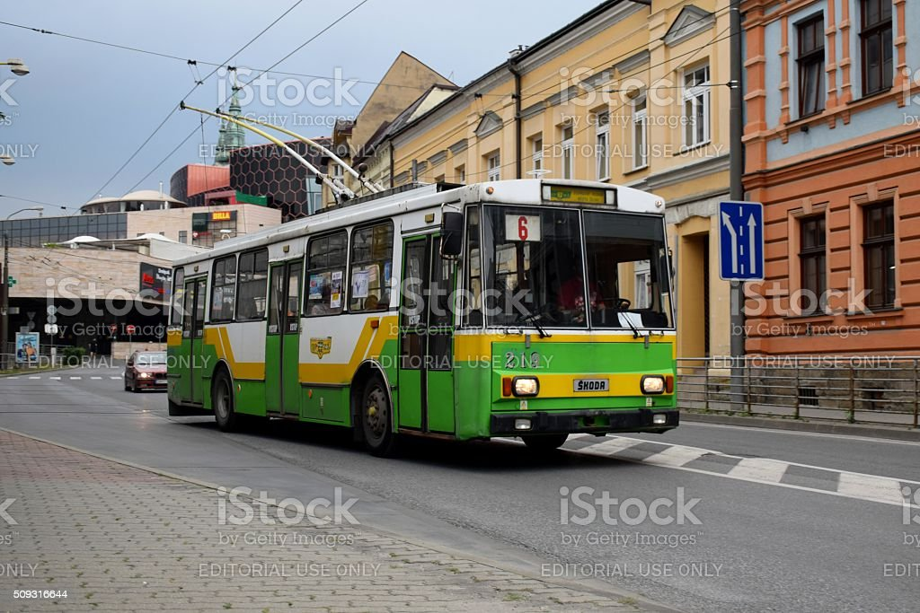 Škoda 14Tr trolleybus on the street stock photo