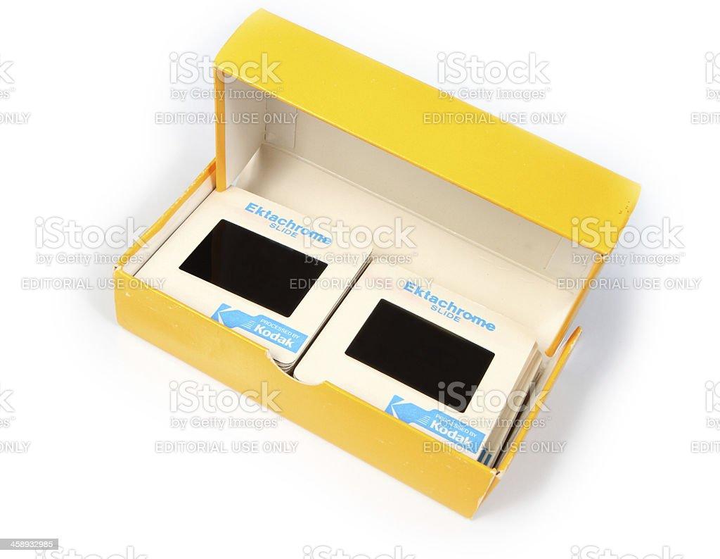 Kodak Ektachrome Slides in Box royalty-free stock photo