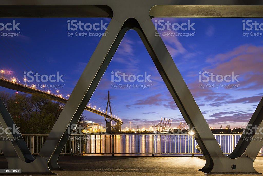 Koehlbrandbruecke, Hamburg, harbour bridge royalty-free stock photo