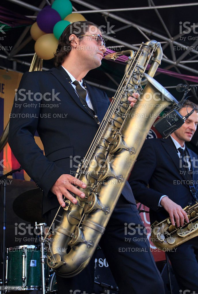 Koen Schouten playing baritone sax stock photo
