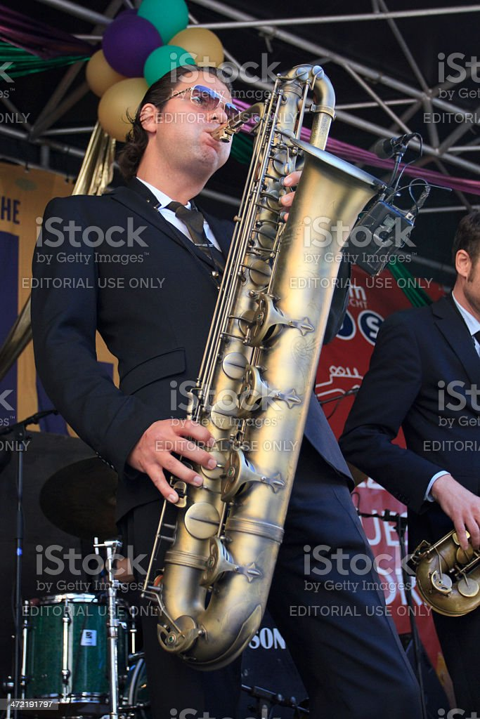 Koen Schouten plays baritone sax stock photo