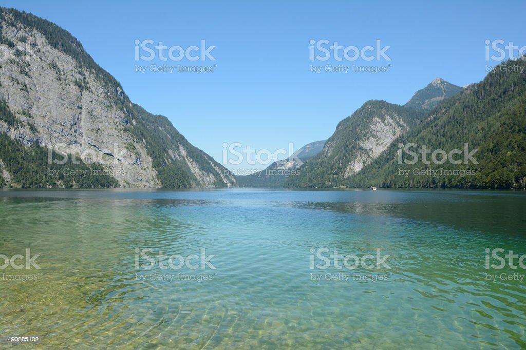 Koenigssee lake and mountains stock photo