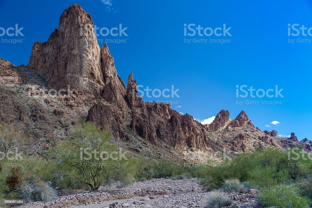 Kofa Queen Canyon in Arizona stock photo