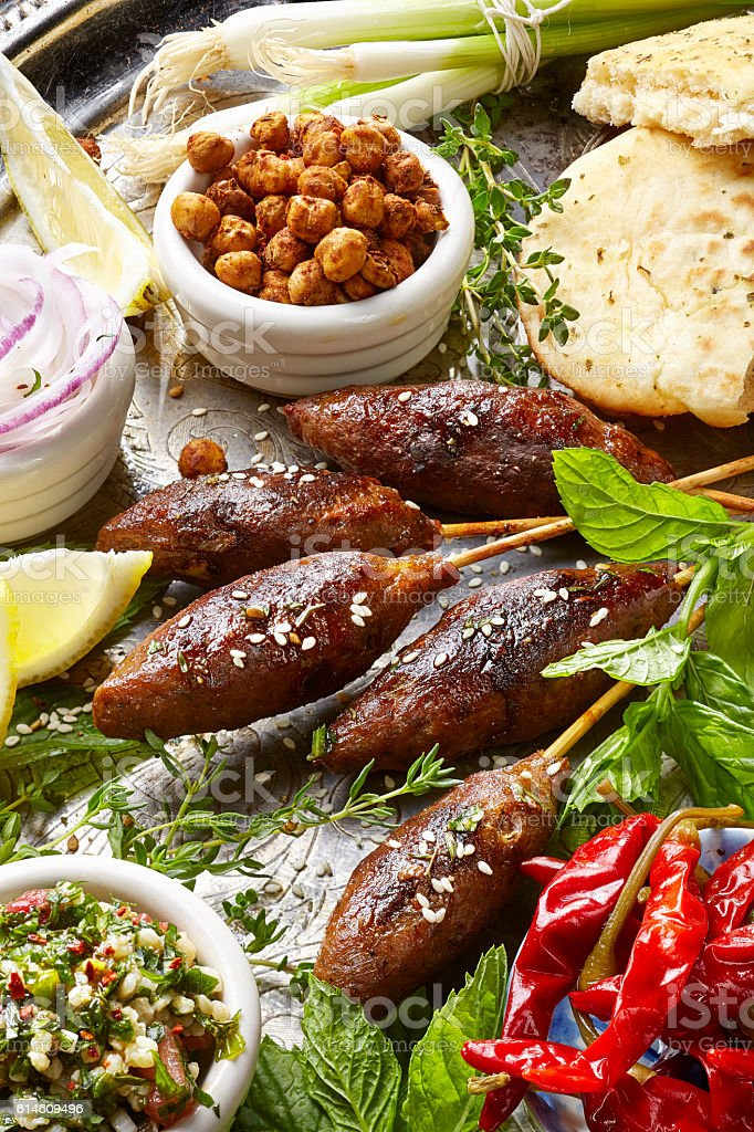 Kofta skewers,  variety of meze, oriental cuisine stock photo