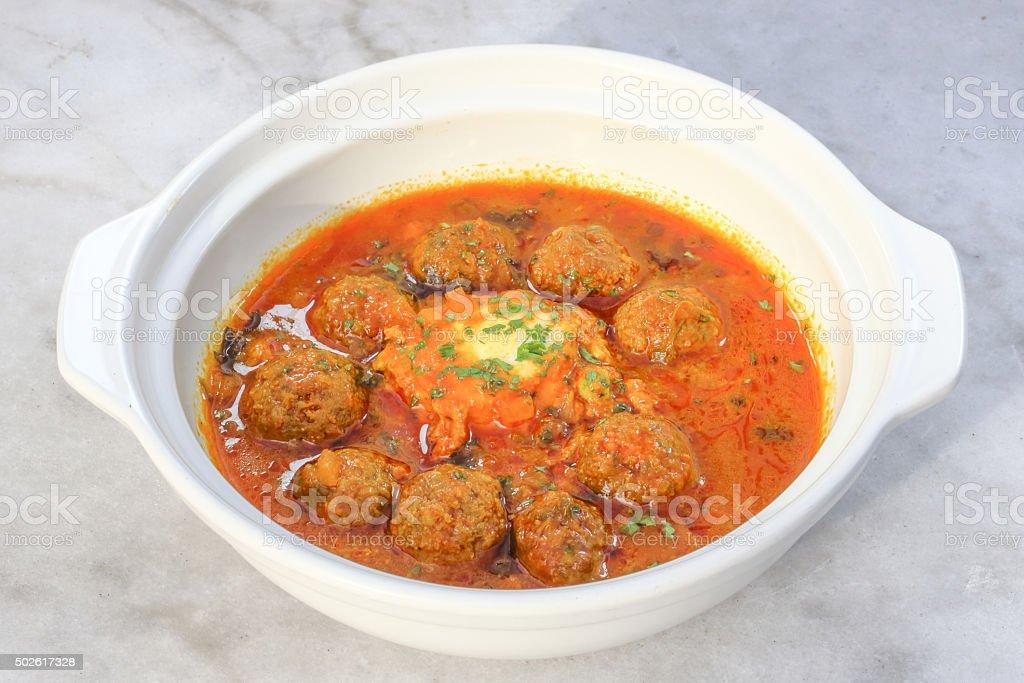 Kofta Tajine dish in claypot stock photo