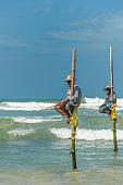 Koggala beach, village near Galle, stilt fishermen