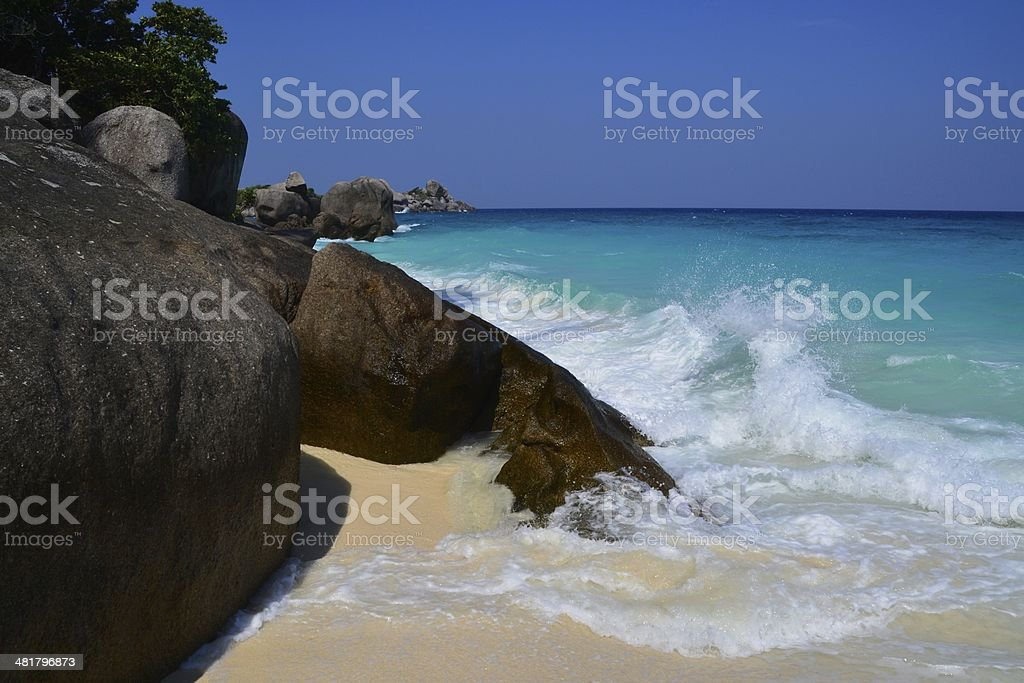 Koh Miang Island with rocky coastline and turquoise sea. stock photo