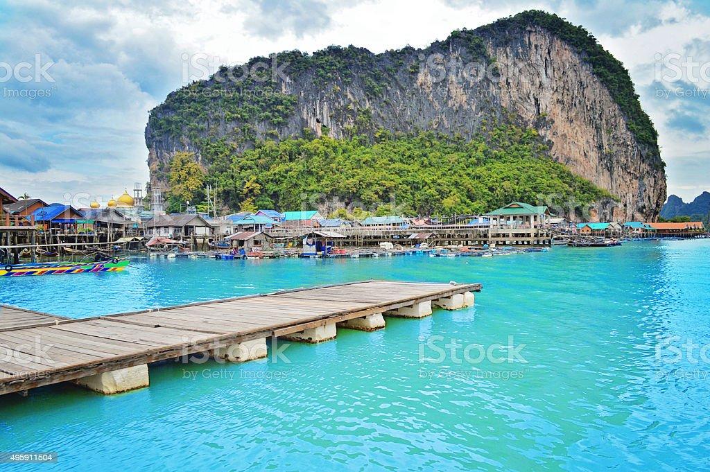 Koh Panyee fisherman village in Thailand stock photo