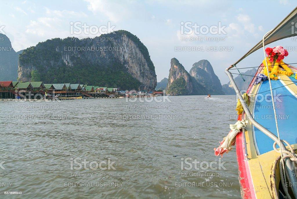 Koh Panyee settlement built on stilts of Phang Nga Bay stock photo