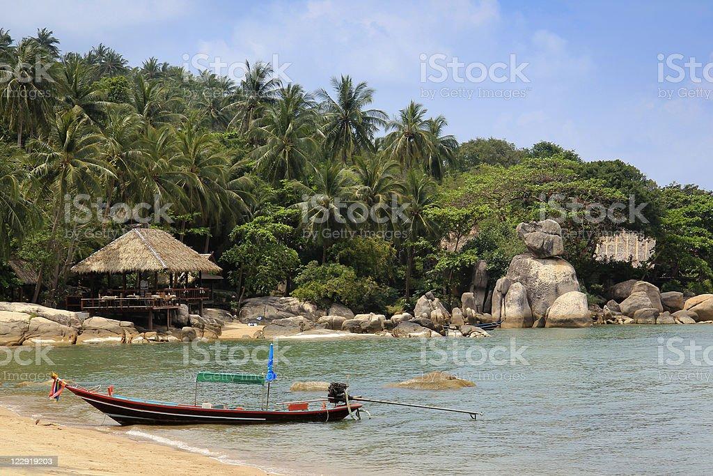 koh tao beach resort longtail boat thailand royalty-free stock photo