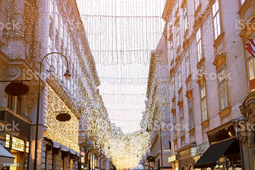 Kohlmarkt the main shopping street in Vienna at Christmas stock photo