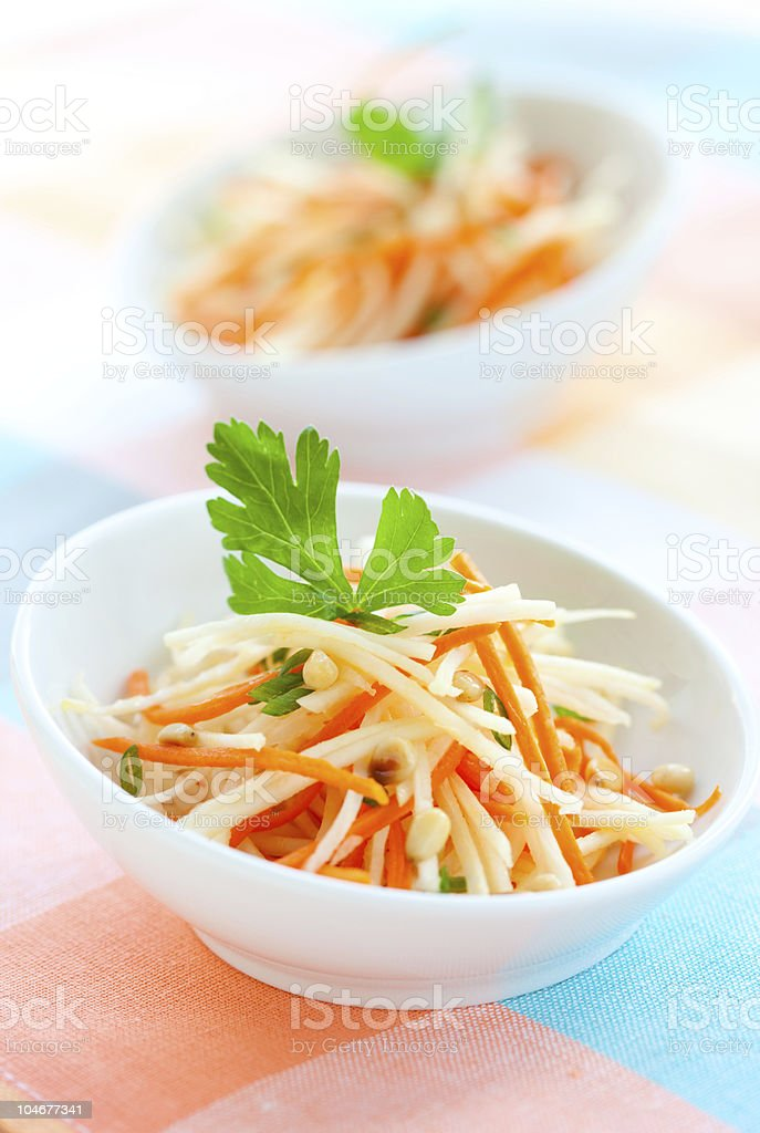 kohlrabi and carrot salad royalty-free stock photo