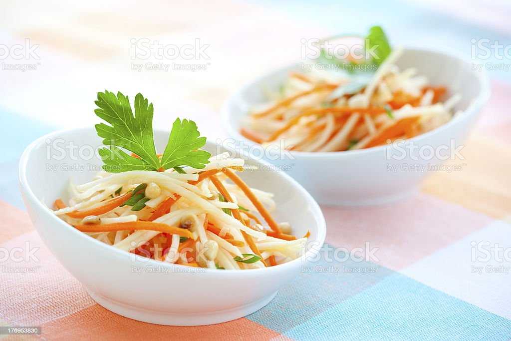 kohlrabi and carrot salad stock photo