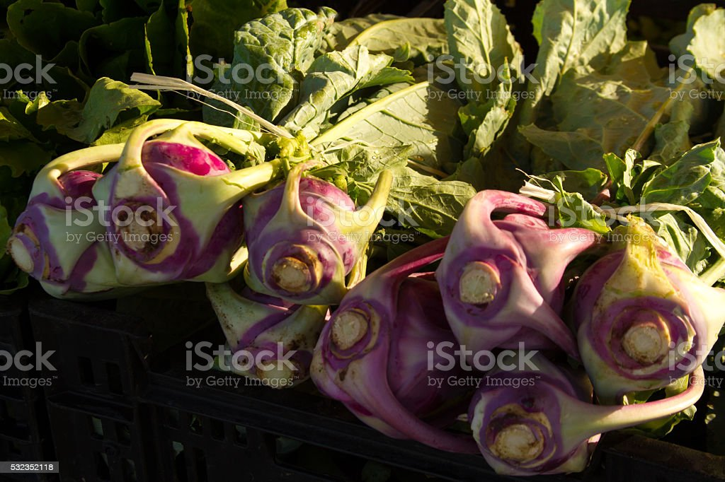 Kohlrabi at Market in Early Morning Light stock photo
