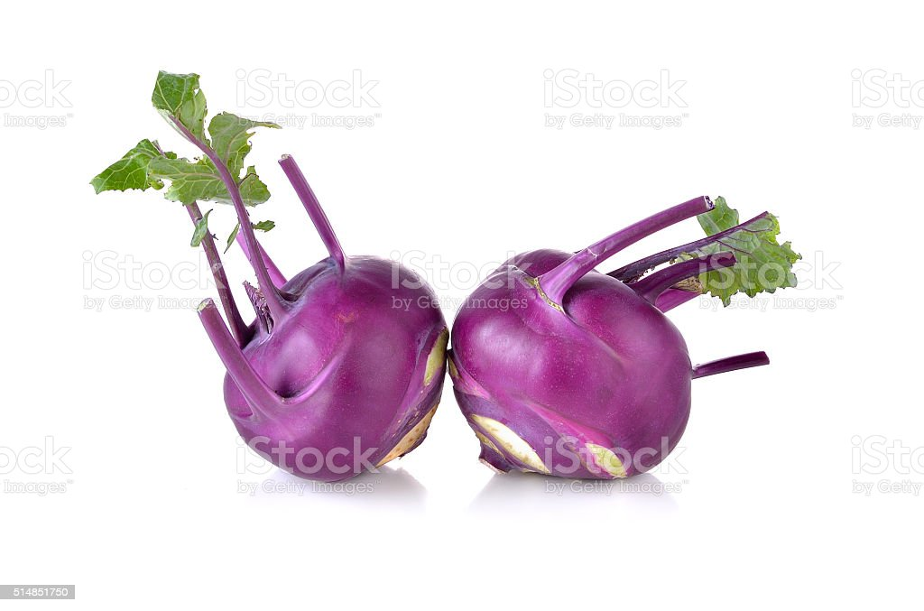 Kohlrabi root isolated on white background stock photo