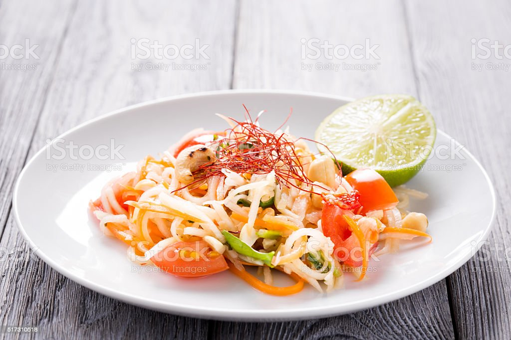 Kohlrabi thai Som Tam salad stock photo