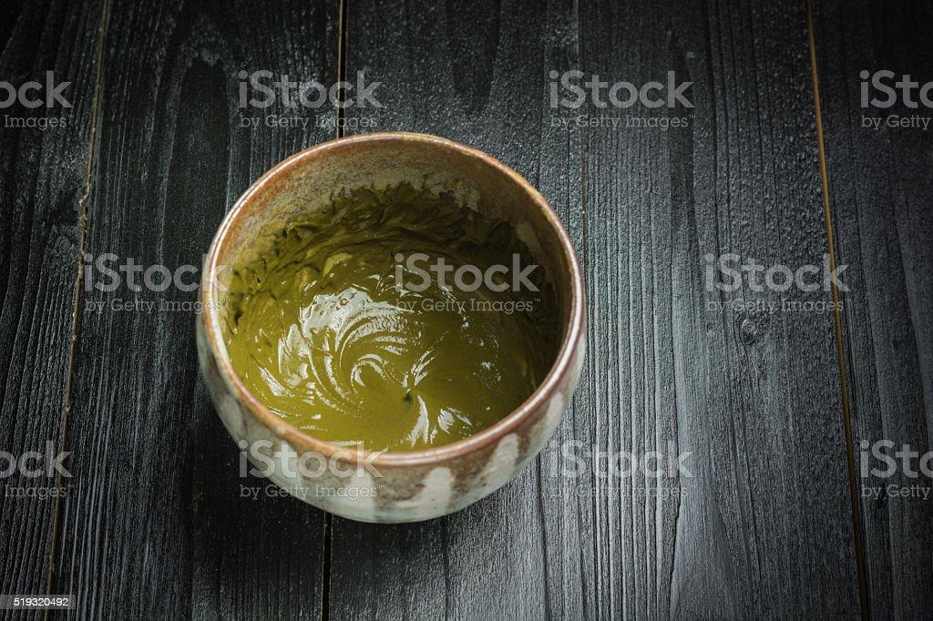 Koicha or thick matcha stock photo