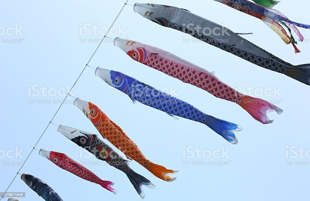Koinobori or Carp Streamers and Blue Sky over Shikoku, Japan stock photo
