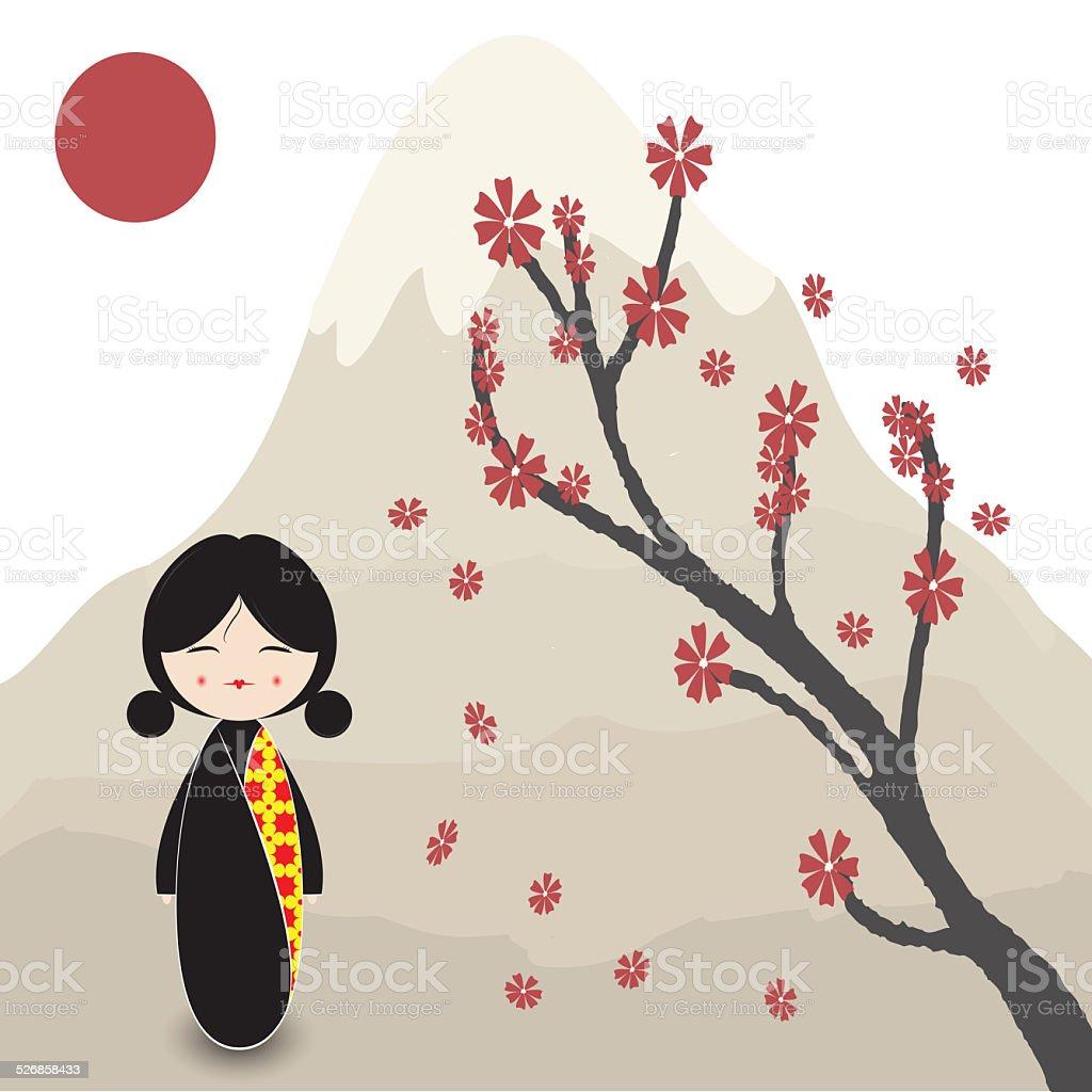 Kokeshi doll under sakura branch stock photo