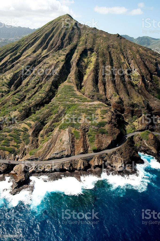 Koko Head Crater and Coastline shot from a Helicopter stock photo