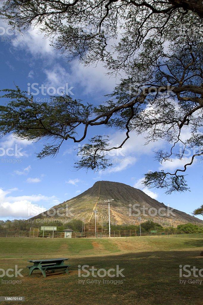 Koko Head crater in Hawaii Kai, Oahu stock photo